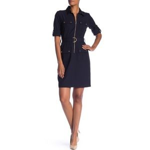 NWT ✨Sharagano 3/4 Sleeve Zip Belted Shirt Dress✨